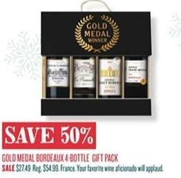 cost plus world market black friday gold medal bordeaux 4 bottle gift pack for. Black Bedroom Furniture Sets. Home Design Ideas
