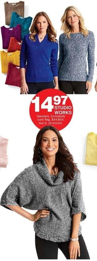 Bon-Ton Black Friday: Studio Works Sweaters for $14.97