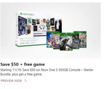 Microsoft Store Black Friday: Xbox One S 500GB Starter Bundle + Free Game - $50 Off