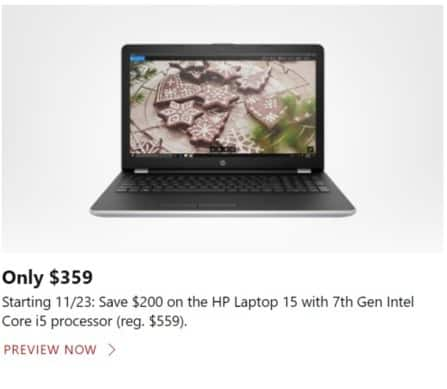 Microsoft Store Black Friday: HP Laptop 15: 7th Gen Intel Core i5 for $359.00