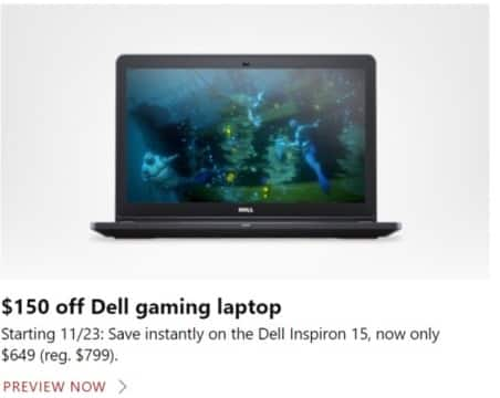 Microsoft Store Black Friday: Dell Inspiron 15 Gaming Laptop for $649.00
