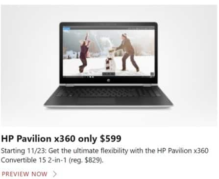 Microsoft Store Black Friday: HP Pavilion x360 Convertible 15 2-in-1 for $599.00