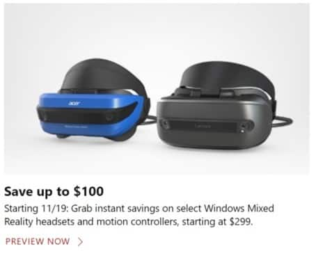 Microsoft Store Black Friday: Select Windows Mixed Reality Headsets and Motion Controllers - From $299
