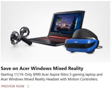 Microsoft Store Black Friday: Acer Aspire 5 Gaming Laptop and Acer Windows Mixed Reality Headset with Motion Controllers for $999.00