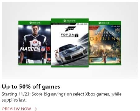 Microsoft Store Black Friday: Select Xbox Games - Up to 50% Off