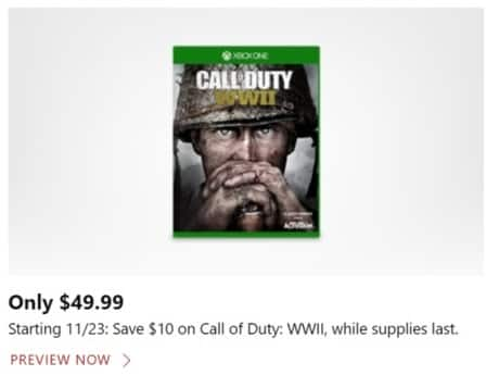 Microsoft Store Black Friday: Call of Duty: WWII (Xbox One) for $49.99