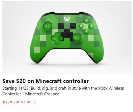 Microsoft Store Black Friday: Xbox Wireless Controller (Minecraft Creeper) - $20 Off