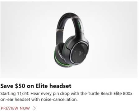 Microsoft Store Black Friday: Turtle Beach Elite 800x On-Ear Headset with Noise-Cancellation - $50 Off