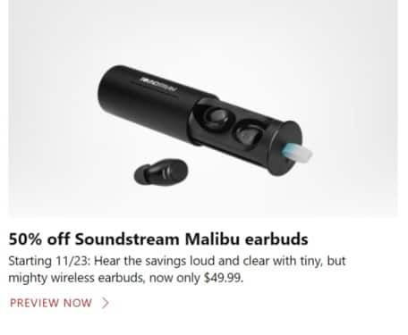 Microsoft Store Black Friday: Soundstream Malibu Earbuds for $49.99