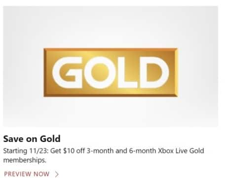 Microsoft Store Black Friday: 3-Month and 6-Month Xbox Live Gold Memberships - $10 Off