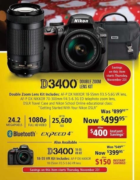 Nikon Black Friday: Nikon D3400 18-55 VR Kit: AF-P DX NIKKOR 18-55mm f/3.5-5.6G VR Lens for $399.95