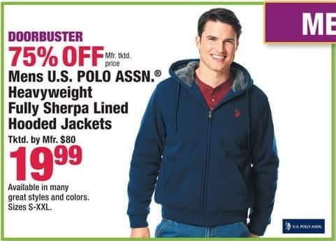 Boscov's Black Friday: Men's U.S. Polo Assn. Heavyweight Fully Sherpa Line Hooded Jackets for $19.99
