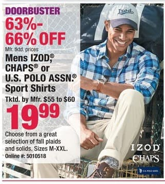 Boscov's Black Friday: Men's Izod Chaps or U.S. Polo Assn. Sport Shirts for $19.99