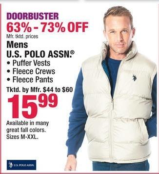 Boscov's Black Friday: Men's U.S. Polo Assn. Puffer Vests, Fleece Crews and Fleece Pants for $15.99