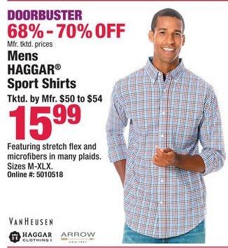 Boscov's Black Friday: Men's Haggar Sport Shirts for $15.99