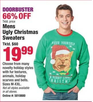 Boscov's Black Friday: Men's Ugly Christmas Sweaters for $19.99