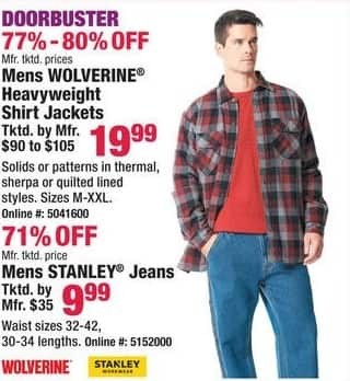 Boscov's Black Friday: Men's Wolverine Heavyweight Shirt Jackets for $19.99