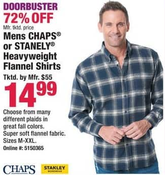 Boscov's Black Friday: Men's Chaps or Stanley Heavyweight Flannel Shirts for $14.99