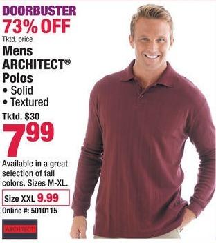 Boscov's Black Friday: Men's Architect Polos for $7.99