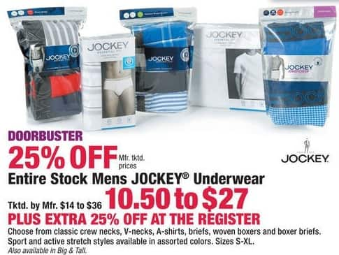 Boscov's Black Friday: Entire Stock Men's Jockey Underwear + Extra 25% Off for $10.50 - $27.00