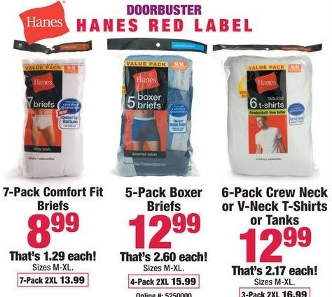 Boscov's Black Friday: Hanes 7-pk. Comfort Fit Briefs for $8.99