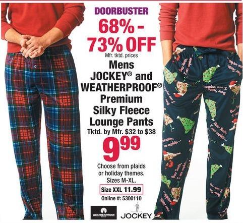 Boscov's Black Friday: Men's Jockey and Weatherproof Premium Silky Fleece Lounge Pants for $9.99