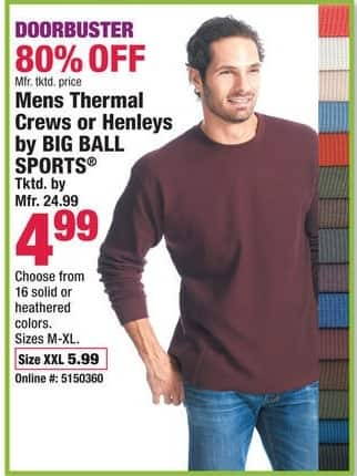 Boscov's Black Friday: Men's Thermal Crews or Henleys by Big Ball Sports for $4.99