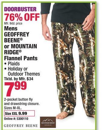 Boscov's Black Friday: Men's Geoffrey Beene or Mountain Ridge Flannel Pants for $7.99