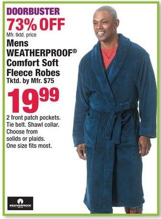 Boscov's Black Friday: Men's Weatherproof Comfort Soft Fleece Robes for $19.99