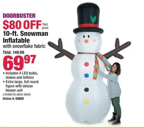 Boscov's Black Friday: 10-ft. Snowman Inflatable with Snowflake Fabric for $69.97