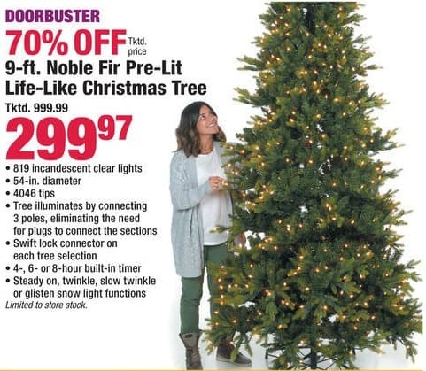 category christmas deal image boscovs black friday 9 ft noble fir pre lit life like - Black Friday Deals On Christmas Trees