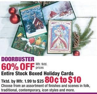 Boscov's Black Friday: Entire Stock Boxed Holiday Cards - 60% Off