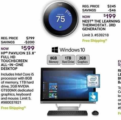 "Sam's Club Black Friday: HP Pavilion 23.8"" Full HD Touchscreen All-in-One Desktop: Intel Core i5, 8GB, 1TB HD for $599.00"