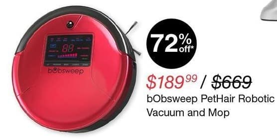 Overstock Black Friday: bObsweep PetHair Robotic Vacuum & Mop for $189.99