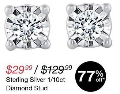 Overstock Black Friday: Sterling Silver 1/10-ct tw. Diamond Stud Earrings for $29.99