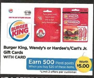 Rite Aid Black Friday: Burger King, Wendy's or Hardee's/Carl's Jr. Gift Cards, w/Card - Earn 500 PP w/ $20 Purchase