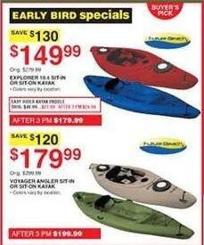 Dunhams Sports Black Friday: Voyager Angler Kayak for $179.99