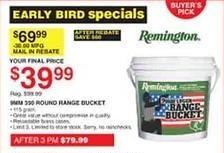Dunhams Sports Black Friday: Remington 9mm 330 Round Range Bucket for $39.99 after $30.00 rebate