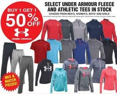 Dunhams Sports Black Friday: Select Under Armour Fleece and Athletic Tees - B1G1 50% Off