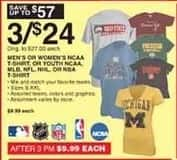 Dunhams Sports Black Friday: (3) Men's or Women's NCAA T-shirts or Kids' NCAA, MLB, NFL or NBA T-Shirts for $24.00