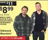 Dunhams Sports Black Friday: Oakwood Mountain Men's Long Sleeve Plaid Polar Fleece Reversible Hoodie for $8.99