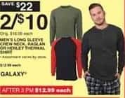 Dunhams Sports Black Friday: (2) Men's Galaxy Long Sleeve Crew Neck, Raglan or Henley Thermal Shirt for $10.00