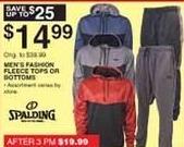 Dunhams Sports Black Friday: Men's Spalding Fashion Fleece Tops or Bottoms for $14.99