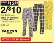 Dunhams Sports Black Friday: (2) Men's or Women's Canyon Creek Lounge Pants for $10.00