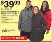 Dunhams Sports Black Friday: Pulse Men's or Women's Insulated Jacket for $39.99