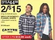 Dunhams Sports Black Friday: (2) Canyon Creek Men's or Women's Flannel Shirts for $15.00