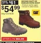 Dunhams Sports Black Friday: Cat Second Shift or Duncan Work Boot for $54.99