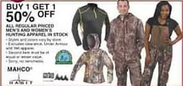 Dunhams Sports Black Friday: Men's and Women's Hunting Apparel - B1G1 50% Off