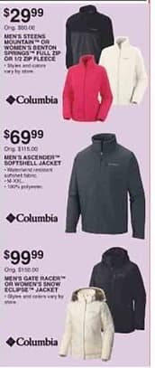 Dunhams Sports Black Friday: Columbia Men's Steens Mountain Jacket or Women's Benton Springs Full Zip or 1/2-Zip Fleece for $29.99