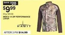 Dunhams Sports Black Friday: Habit Men's 1/4-Zip Performance Layer for $9.99